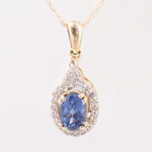 Jewelry - Diamond & Tanzanite Gold Necklace